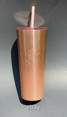 Starbuck 24oz Glitter Gradient Rose Gold Cold Cup/Tumbler 2019 Rare HTF New