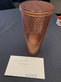 Starbucks 24 oz Iridescent Cold Cup Rose Gold Studded 2019 Rare HTF New Unused