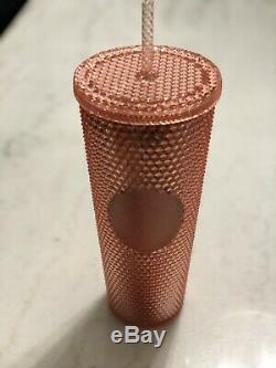 Starbucks Studded 24 oz Rose Gold Tumbler In Hand! Super Rare! Fast Shipping