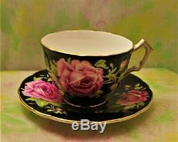 Stunning Rare AYNSLEY Black Cup & Saucer with Pink Cabbage Rose Crocus Shape