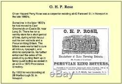 TBR R99L Rare, triangle O. H. P. ROSE PERUVIAN KING BITTERS