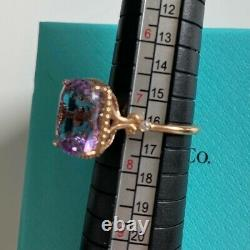 Tiffany & Co. 18k Rose Gold Amethyst Sparkler Ring with Diamonds 7.25 RARE