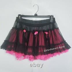 Tripp NYC Pink Black Tutu Skirt Sz S Rare Egirl Rose Goth
