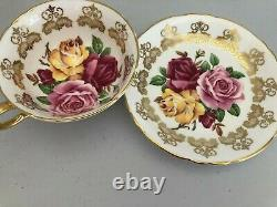 Ultra Rare Paragon Cabbage Rose Cup Gold With Gold Lace