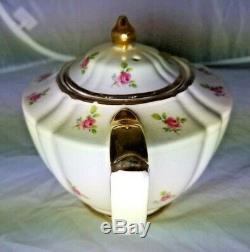 VERY RARE Vintage SADLER ENGLAND IVORY TEAPOT With PINK ROSES! Good Condition
