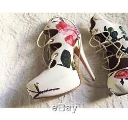 VIVIENNE WESTWOOD white SCARLETT Floral Rose Platform Lace Up RARE Heels 36 6