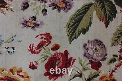 Very Rare Antique French Rose Floral Goat's Wool Yardage Fabric c. 1840