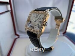 Very Rare Cartier Santos Dumont 18K Rose Gold Quartz Watch with Diamond Bezel