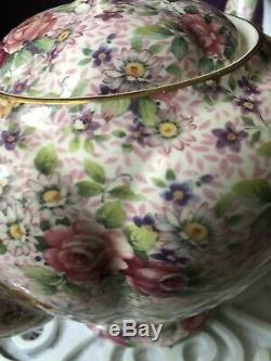Very Rare! Elegant English Arthur Wood Pink Rose Chintz Teapot