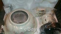 Very Rare! Pfaltzgraff Tea Rose Ceiling Fan + Light Hunter Model 21030