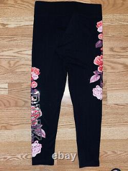 Victoria Secret Pink Bling Sequin Rose RARE Crew Sweatshirt Leggings Outfit Set