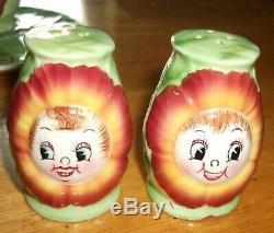 Vintage Anthropomorphic PY Cabbage Rose 3 Pc Set Excellent RARE Reddish/Orange
