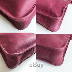 Vintage Coach Bag Drop Shoulder Kiss Lock Pouch Dark Pink Bonnie Cashin RARE