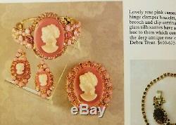 Vintage RARE JULIANA Rose Pink Cameo Brooch & Earrings Set Book Piece