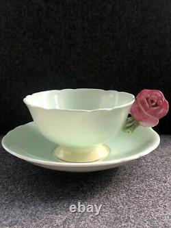 Vintage RARE Paragon England Pink ROSE HANDLE TEACUP AND SAUCER Pale Green Lemon