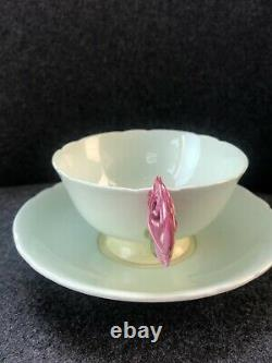 Vintage RARE Paragon ROSE HANDLE TEACUP Cup AND SAUCER Pale Green