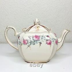 Vintage RARE Sadler Cube Teapot England Ivory Beige Gold Floral Trim Pink Roses