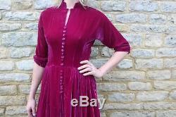 Vintage Rare Emma Domb 1940s Velvet Rose Pink Dress Excellent Condition 10