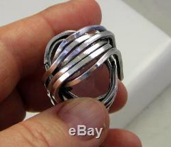 Vintage Rare Massive Artistic Sterling Silver Pink Rose Quartz 29.9 Gram Ring