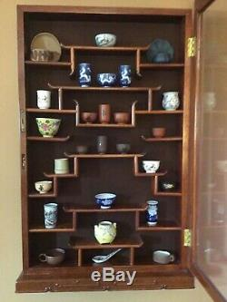 Vintage Rose Wood Chinese Pagoda Wall Curio Cabinet & VTG Mini Teacups 29pc-RARE