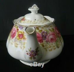 Vintage Royal Albert Serena Teapot with Lid Pink Roses 4 Cup England Rare Pot