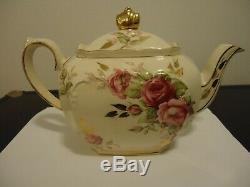 Vintage Sadler England Cubed Rose Teapot #2897 Rare 1930-1940's RARE