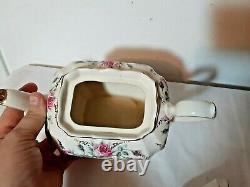 Vintage Sadler Pink Roses Cube Teapot England Rare gold gilding Antique