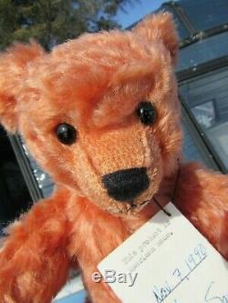Vintage Teddy Bear 10 Rare Rose Pink Apricot Mohair Artist Karen Sawin Chimera