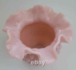 Vtg RARE 1954 Fenton Pastel Rose Pink Milk Glass Hobnail Ruffled Bowl FREEUSHIP