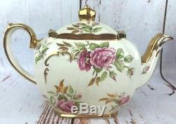 Vtg Sadler Cube Teapot Cabbage Pink Rose Flowers Gold Trim England 1949 CW Rare