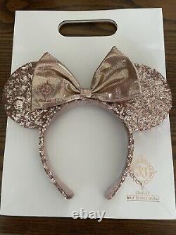 WDW Club 33 Disney RARE! Rose Gold Minnie Ears NWOT