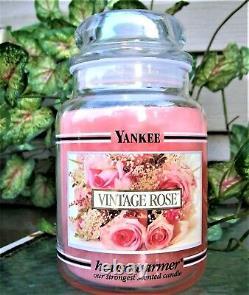 Yankee Candle Retired Black Band VINTAGE ROSE Large 22 oz WHITE LABEL RARE