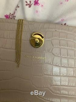 Yves Saint Laurent Small Kate Monogram Gold Tassel Antique Rose Croc Rare
